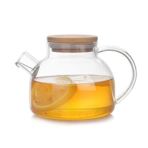QCCOKNN Juego de tetera de cristal resistente al calor, tetera con tapa de madera, diseño de flores, té puro, hervidor de agua, taza de café, tetera