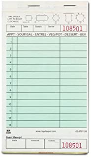 Royal Green Guest Check Board, Carbonless 3 Part Booked, Package of 10 Books