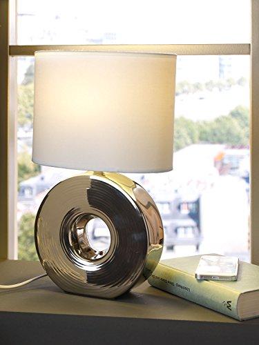 Nachttischlampe Tischleuchte Tischlampe   Keramik   Stoff   Silberfarben-Weiß   ohne Leuchtmittel
