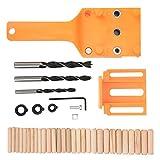Localizador de orificios de perforación Juego de guías de plantilla para carpintería Localizador de perforación de mano con rango de ajuste de 4-45 mm para brocas de 6/8/10 mm(orange, blue)