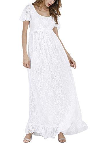 Dam mammaklänning festlig klänning av spets kortärmad moderskap graviditetsklänning kvinnor långa kläder elegant bröllop aftonklänning omvårdnad mamma maxiklänning för fotograferingsstöd S-4XL