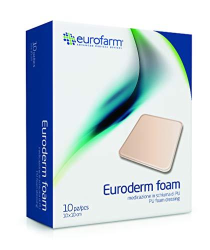 Euroderm Foam (cm 10 x cm 10) Medicazione in Schiuma di poliuretano Altamente Assorbente con Intera Superficie Idroattiva, Confezione 10 pezzi