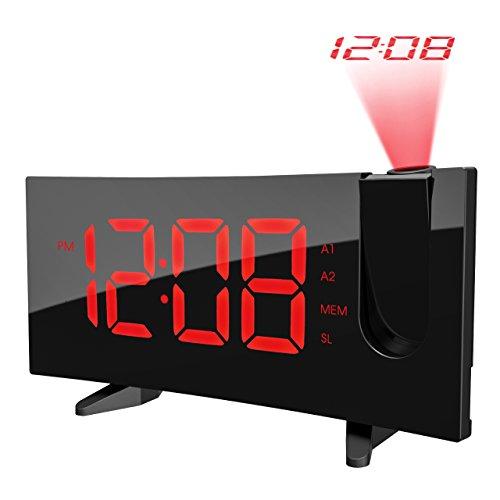Pictek proiezione sveglia, radio FM radio sveglia 5'' Ampio display LED digitale orologio sveglia luce proiezione sveglia con proiezione 180° del display, snooze, Dual Alarm, USB CH