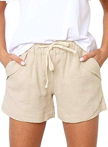 BLENCOT Women's Cute Drawstring Elastic Waist Casual Solid Comfy Linen Beach Shorts Beige M…