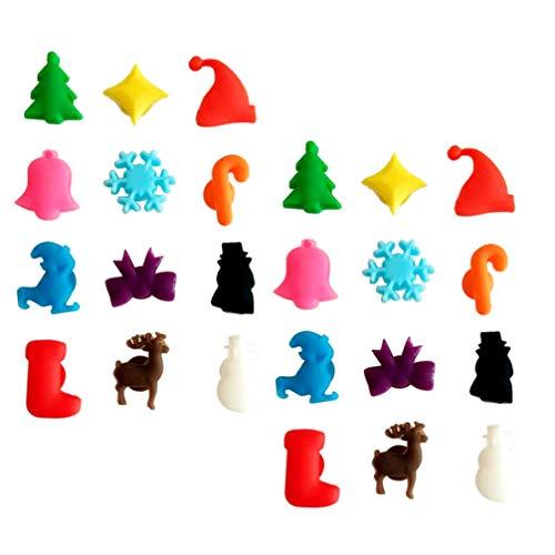Toyvian 24 Stücke Silikon Glasmarkierer Glasmarker mit Saugnapf Weihnachten Weinglas Charms Marker Glasmarkierung Party Gläser Markierung für Bankett Tischdeko Xmas Deko