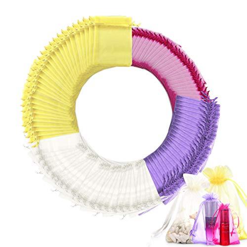 LATTCURE 100 bolsas de organza, 4 tamaños, bolsas de organza, bolsas de regalo para joyas, bolsas de lavanda para rellenar, joyas y dulces