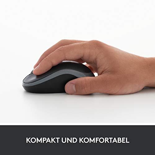 Logitech M185 Kabellose Maus, 2.4 GHz Verbindung via Nano-USB-Empfänger, 1000 DPI Optischer Sensor, 12-Monate Akkulaufzeit, Für Links- und Rechtshänder, PC/Mac - Grau - 8