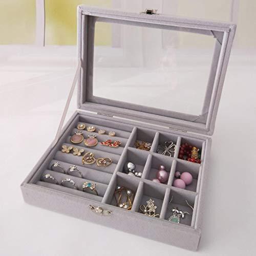 NIKEC Caja de almacenamiento portátil de terciopelo para joyas, bandeja, pendientes y joyas.