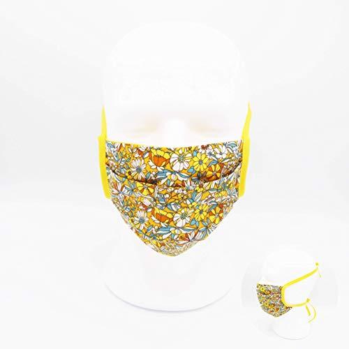 Waschbare Mundmaske aus 100% Baumwollgewebe - Gelbe Blumen - Doppellagig