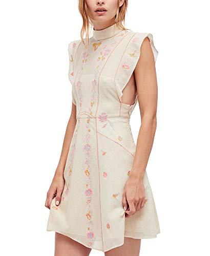 Free People Women's Riviera Embroidered Illusion Mini Dress Ivory Combo 6