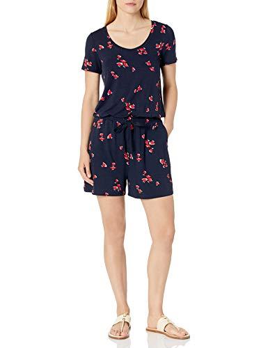 Amazon Essentials Short-Sleeve Scoop-Neck Romper Jumpsuits-Apparel, Marinerote Tulpe, L