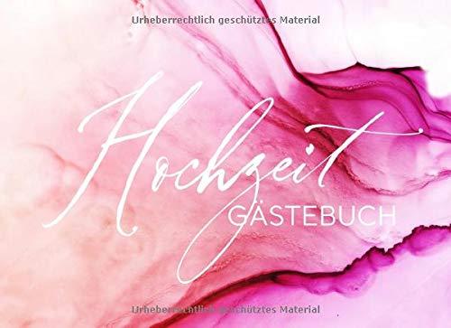 Hochzeit Gästebuch: Modern Pink Weiß Rosa Gäste Buch Liniert zum Ausfüllen - Hochzeitsfeier Brautpaar Erinnerungsalbum - Elegant Kalligraphie Watercolor Art