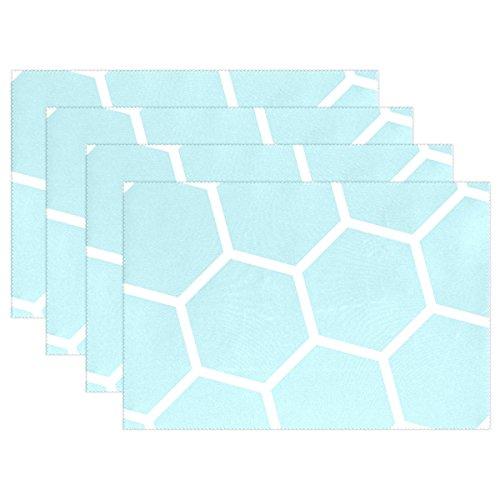 BENNIGIRY Bleu Blanc Ruche Nid d'abeille hexagonale Set de table, vintage Art Polyester Table Set de table 30,5 x 45,7 cm pour cuisine salle à manger 1 PC, Polyester, multicolore, 12x18x4 in