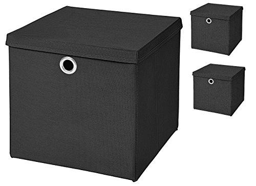 Stick&Shine 3X Aufbewahrungs Korb Schwarz Faltbox 32 x 32 x 32 cm Regalkorb faltbar mit Deckel