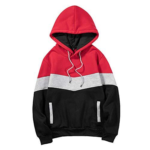 Color Block Sweatshirt à Capuche pour Homme Unisexe Patchwork Streetwear Pull de Sport avec Cordon de Serrage Manteau à Manches Longues avec Poche Hauts Loose Fit pour Femme et Homme Rouge M