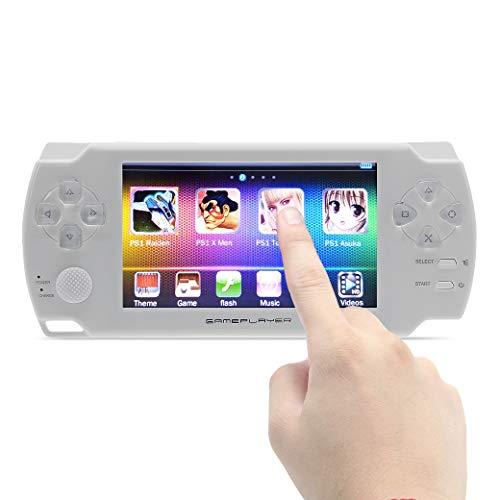 JXD touch screen da 4.3 pollici Console per videogiochi portatile da 8GB versione 1200 giochi per ps1/arcad/neogeo/cps/flash/gba/fc/gbc/smd/sfc Batteria ricaricabile al litio MP3/4 DV/DC (bianca)