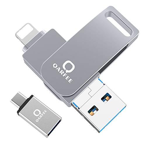 Qarfee USB Stick 32GB für iPhone USB 3.0 Flash Drive USB Speicherstick Memory Stick kompatibel mit iPhone/iPad/USB/iOS/Micro USB/Type C Anschluss/Handy Tablet/PC, Hellgrau