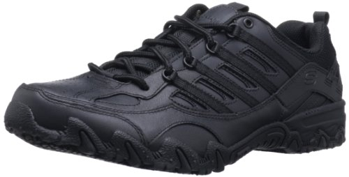 Skechers for Work Women's Compulsions Chant Lace-Up Work Shoe, Black, 7.5 XW US