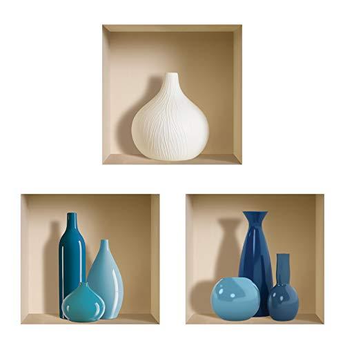 The Nisha Art Adesivi 3D Magici da Muro in Vinile Sticker Decalcomania Fai-da-Te, Set da 3, Blu e bianco Vasi
