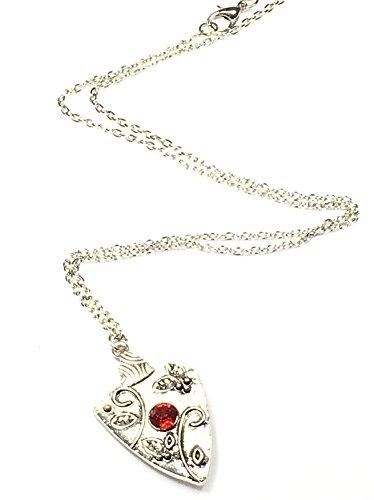 Vampire Diaries Bonnie Bennett kette Halsanhänger Amulett Glücksbringer Antik Schmuck Halsschmuck antisilber mit rubin ,muss für jeden Fan