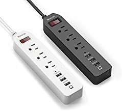 Power Strip Surge Protector 3 AC Outlets with 3 USB Ports (5V/2.4Ax3) White & Black