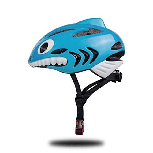 YXZN Casco Infantil Integrado Moldeado Tiburón Al Aire Libre Deportes Bicicleta Patinaje Equilibrio Coche Montar Cascos Ajustable,Blue,57X52.5X42CM
