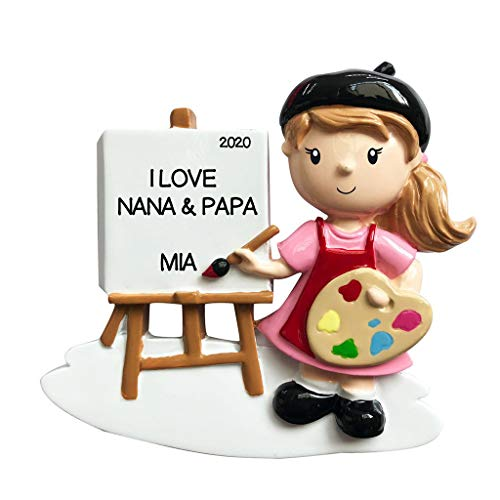 Personalized Christmas Ornament Child- Girl Artist