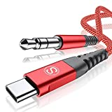 USB C to 3.5mm Audio Aux Cable 4ft [HiFi Sound,DAC Chip],Sweguard USB Type C to 3.5mm Male Aux Cord for Samsung Galaxy S20,Note 20 10,iPad Pro,Google Pixel 4 3 2XL,Car,Home Stereo,Headphone&More-Red