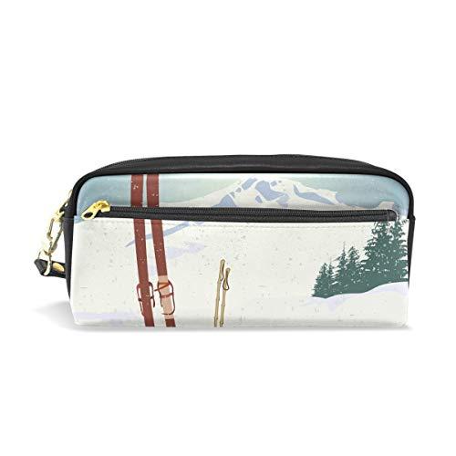 Montañas y vieja tabla de snowboard portátil de cuero de la PU Estuche de lápices Bolígrafo escolar Bolsas de papelería Estuche de gran capacidad Bolsa de cosméticos de maquillaje