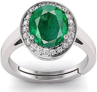 LMDPRAJAPATIS Created Emerald Panna 5.25 Ratti Gemstone 925 Sterling Silver-Ring Oval Shape Wedding Anniversary Solitaire ...