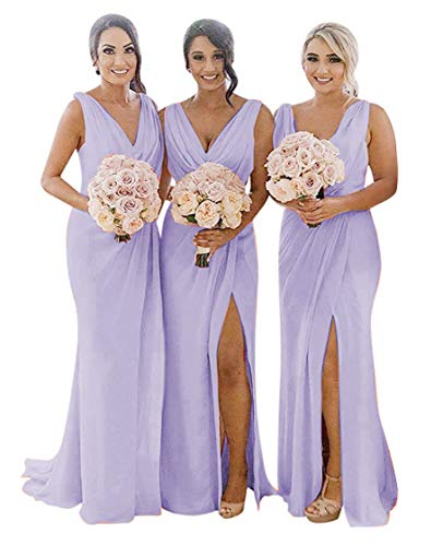MARSEN Draped V Neck Bridesmaid Dresses Long Ruched Chiffon Formal Party Dress for Wedding with Slit Lavender Size 16
