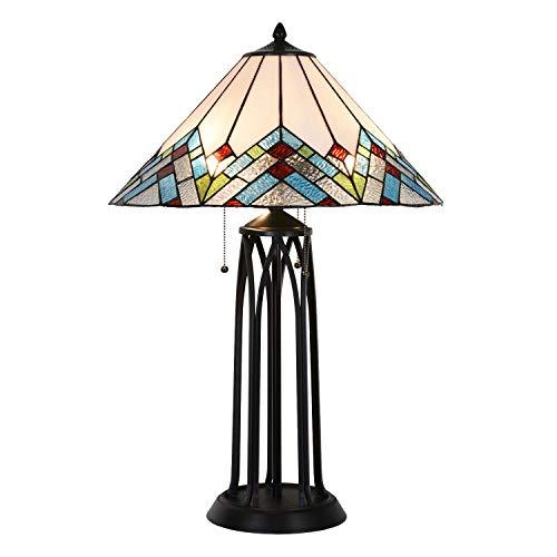 Lumilamp Lámpara de mesa Tiffany 5LL-5393 de poliresina y cristal