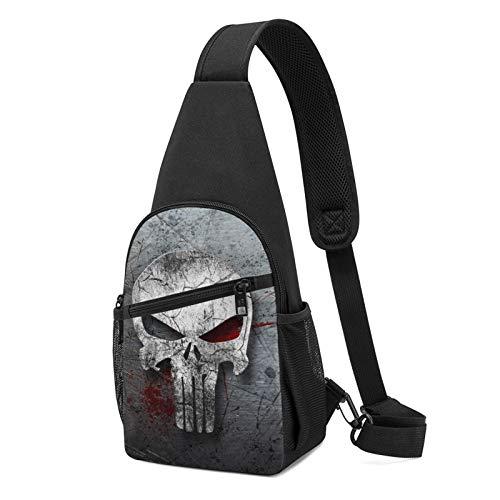 Mochila con estampado de calavera, mochila ligera para el pecho, bolsa de viaje y senderismo, color Negro, talla Talla única