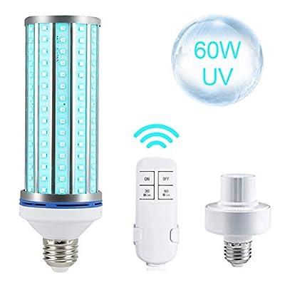 2020 Newest 60W UV Germicidal Lamp Disinfection Lamp Sterilization UV Led Corn Light Bulb with Remote Control? E26/E27 Socket Wide Application