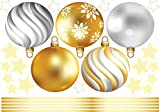 Christmas Holiday Window Decals with Decorative 3D Effects Gold, Vinyl Decals for Xmas, Holiday Themed Stickers for Windows, DIY Decoration Party Supplies, Non-Fading, Single-Use, Cleanable