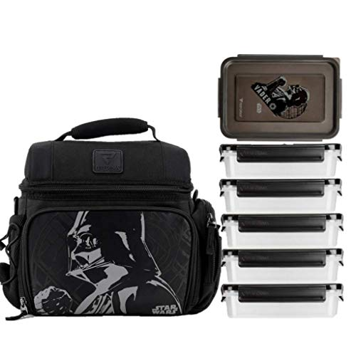 PERFORMA Meal Prep Matrix 6 Meal Cooler Bag - Organized and Insulated 6 Lunch Prep Bag with Two Ice Packs and Shoulder Strap To Accommodate Your Daily Meal Prepping (Darth Vader)