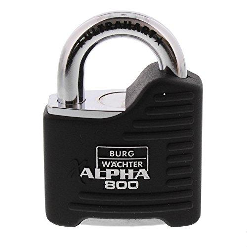 BURG-WÄCHTER Vorhängeschloss, 11 mm Bügelstärke, Ultrahart, Bohr- und Kneifschutz, 2 Schlüssel, Alpha 800 65 SB