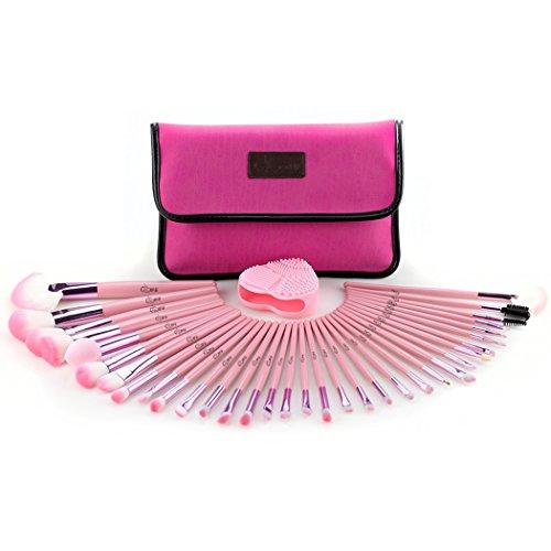 Glow Pink Makeup Brushes Set - 34-teiliges Make-up Pinsel Set mit Make-up Pinsel Reiniger/Scrubber...