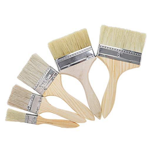 Jixista Flachpinsel Set Malerpinsel Flachpinsel Pinsel Malerpinsel Flachpinsel 5PCS für Kunst und Malerarbeiten im Haus und Garten Flach und Rundpinsel in vielen Größen Pinselset zum Streichen