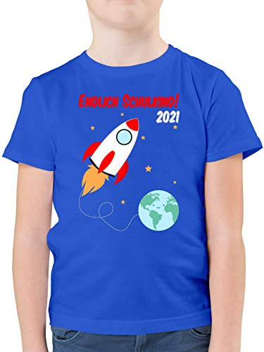Einschulung und Schulanfang Geschenk - Endlich Schulkind Rakete 2021-104 (3/4 Jahre) - Royalblau - Rakete Tshirt Kinder - F130K - Kinder Tshirts und T-Shirt für Jungen