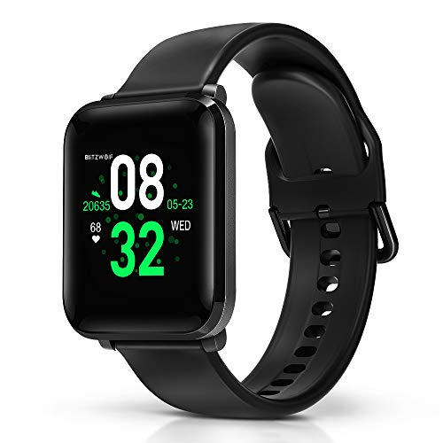 Smartwatch, BlitzWolf IP68 wasserdichte Smartwatch Fitness Tracker Sportuhr Uhr Intelligente Armbanduhr 1,3 Zoll HD-Bildschirm mit Pulsmesser, Schrittzähler, Schlaf-Monitor für iPhone Android