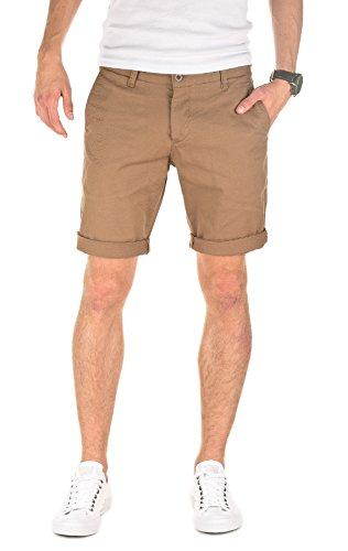 WOTEGA Herren Solid Chino Shorts Penta - braune Kurze Männer Sommer Chinohose - beige Bermuda Hose, Camel (Otter 181018), W30