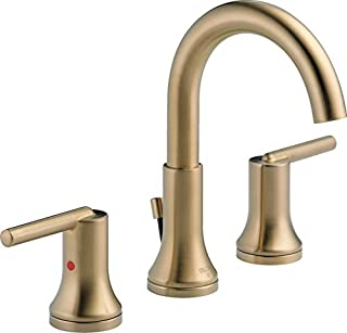 Delta Faucet Trinsic Widespread Bathroom Faucet 3 Hole, Gold Bathroom Faucet, Diamond Seal Technology, Metal Drain Assembly, Champagne Bronze 3559-CZMPU-DST