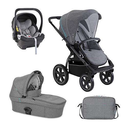 X-lander Kinderwagen 3in1 X-Move Buggy Babywanne Babyschale Wickeltasche Komplettset Luftreifen Gelände Wagen Liegefunktion Sportwagen Stroller (Azure grey)