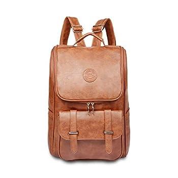 Vintage Leather Backpack Slim Laptop Backpack Travel Waterproof Pack College School Bookbag Weekend Daypack Bag for Men Women,Brown