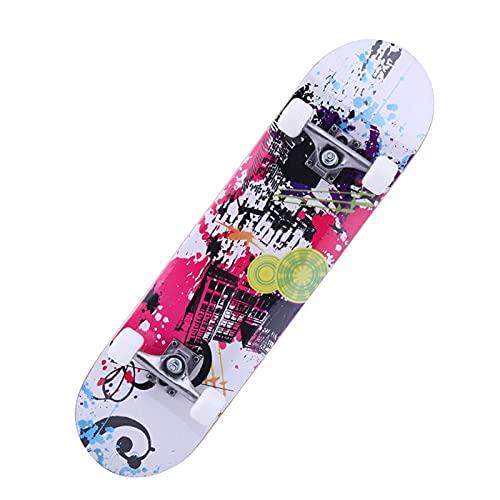 ZZQQ Skateboards, 79cm * 20cm * 13cm Skateboards para Adultos u Adolescentes, Tablero de Skate Cruiser de Arce, Incluyendo camión, Ruedas de PU, patrón Trasero, cojinete ABEC-7 Equipos de Patinaje