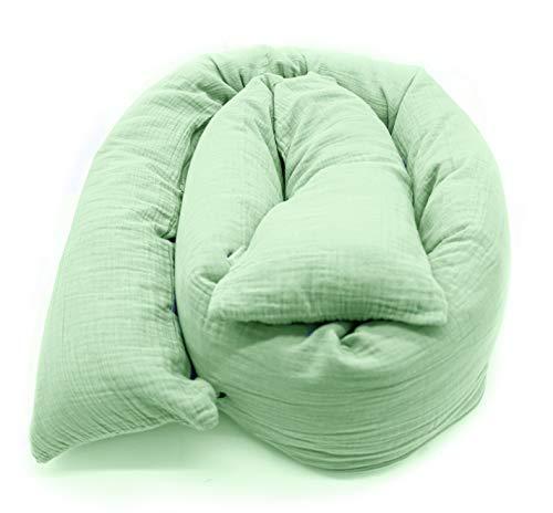 Mizali - Bettschlange 300 cm - mit Reißverschluss - abnehmbarer Musselin Bezug - waschbar - Bettumrandung Babybett Kantenschutz Kinderbett (300 cm, Mint)
