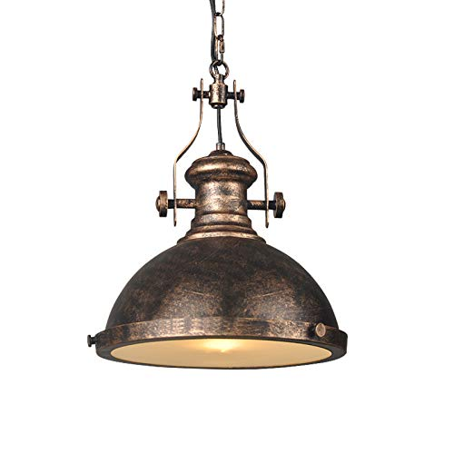 """LITFAD Industrial Antique Single Light Nautical LED Pendant Light 12.5"""" Wide Pendant Lamp Mounted Fixture Hanging Light with Glass Diffuser for Barn Island Restaurant- Rust"""