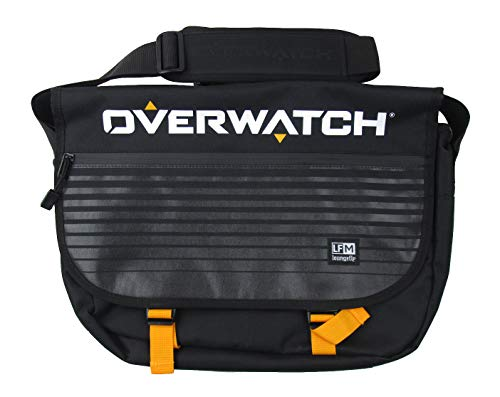 Loungefly x Overwatch Logo Crossbody Messenger Bag (Black Multi, One Size)