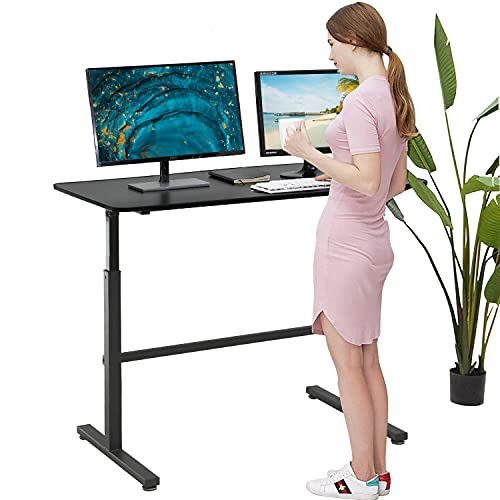 """Adjustable Standing Desk, 47"""" Computer Desk Height Converter Desk Computer Workstation Large Desktop Stand Up Desk Ergotron Laptop Sit-Stand Desk Fit Dual Monitor for Home Office,Black"""